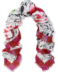 Mary Katrantzou - Woman Paint By Numbers Printed Modal And Cashmere-blend Twill Scarf Multicolor - Lyst