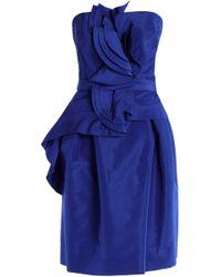 Carolina Herrera - Strapless Ruffled Belted Silk-voile Dress Cobalt Blue - Lyst