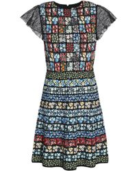 Valentino - Chantilly Lace-trimmed Floral Jacquard-knit Mini Dress - Lyst
