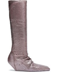 Rick Owens - Metallic Cracked-leather Wedge Boots - Lyst