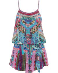 Camilla - Crystal-embellished Printed Silk Crepe De Chine Playsuit - Lyst