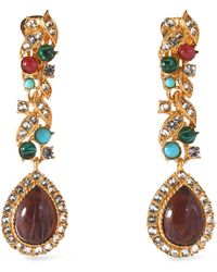 Ben-Amun - Gold-tone, Stone And Crystal Clip Earrings - Lyst