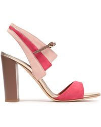 bc8ffec9db01 Malone Souliers - Woman Careen Metallic Leather-trimmed Two-tone Suede  Sandals Pastel Pink