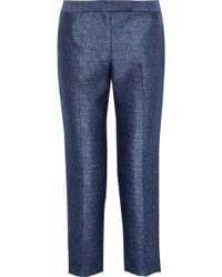 MILLY - Cropped Marled Twill Tapered Pants - Lyst