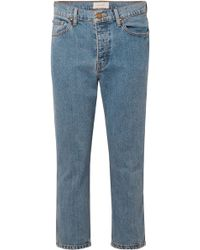The Great - Woman Cropped High-rise Straight-leg Jeans Mid Denim - Lyst