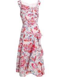 Peter Pilotto - Ruffled Printed Cloqué Midi Dress - Lyst