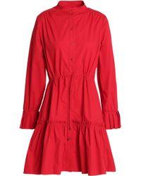 Saloni - Gathered Stretch-cotton Poplin Mini Dress - Lyst