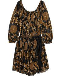 Lanvin - Metallic Fil Coupé Chiffon Mini Dress - Lyst