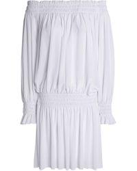 Norma Kamali - Off-the-shoulder Shirred Stretch-jersey Mini Dress - Lyst