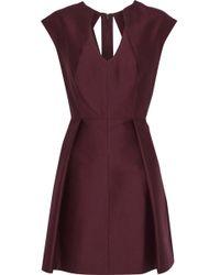 Halston - Pleated Cotton And Silk-blend Faille Mini Dress - Lyst