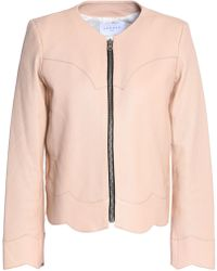 Sandro - Evissa Scalloped Leather Jacket Pastel Pink - Lyst