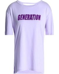 Sandro - Cutout Printed Cotton And Modal-blend Jersey T-shirt Lilac - Lyst