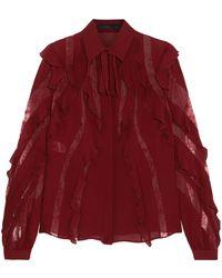 Elie Saab - Lace-trimmed Ruffled Silk-blend Crepe De Chine Blouse - Lyst