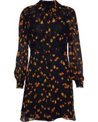 Anna Sui - Woman Guipure Lace-trimmed Floral-print Georgette Mini Dress Black Size 2 - Lyst