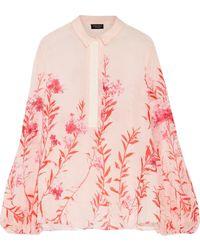Giambattista Valli - Grosgain-trimmed Floral-print Silk-chiffon Blouse - Lyst