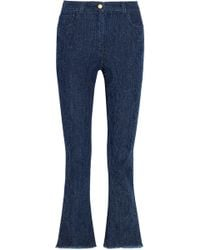 Etro - Distressed High-rise Kick-flare Jeans - Lyst