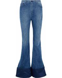 Brandon Maxwell - Woman Duchesse Satin-paneled High-rise Flared Jeans Mid Denim - Lyst