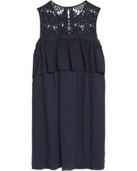 Claudie Pierlot Woman Lace-paneled Layered Crepe De Chine Mini Dress Midnight Blue Size 38 Claudie Pierlot fgl8K