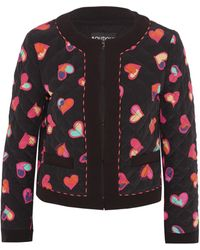 Boutique Moschino - Quilted Printed Silk Crepe De Chine Bomber Jacket - Lyst