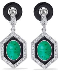 Kenneth Jay Lane - Silver-tone, Crystal, Stone And Resin Clip Earrings - Lyst