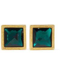 Ben-Amun - Gold-tone Crystal Clip Earrings - Lyst
