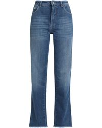 ALEXACHUNG - Frayed High-rise Straight-leg Jeans - Lyst