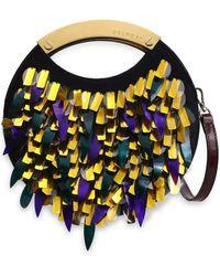 Delpozo - Embellished Calf Hair Shoulder Bag Midnight Blue - Lyst