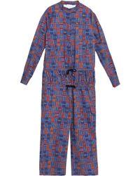 Stella Jean - Smocked Printed Cotton-blend Jumpsuit - Lyst