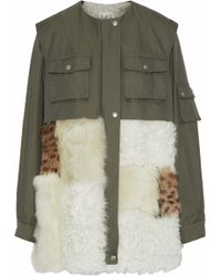 Sea - Shearling-paneled Cotton-blend Twill Coat Army Green - Lyst