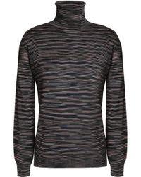 M Missoni - Striped Wool-blend Turtleneck Jumper - Lyst