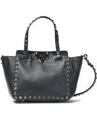 Valentino - Woman Rockstud Leather Shoulder Bag Black - Lyst