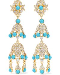 Kenneth Jay Lane - Gold-tone, Stone And Crystal Clip Earrings - Lyst