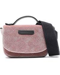 Brunello Cucinelli - Woman Leather-trimmed Quilted Velvet Shoulder Bag Baby Pink - Lyst