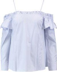 Rebecca Vallance - The Parker Off-the-shoulder Striped Cotton-blend Shirt Light Blue - Lyst