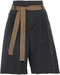 Brunello Cucinelli - Belted Wool And Linen-blend Shorts Dark Denim - Lyst