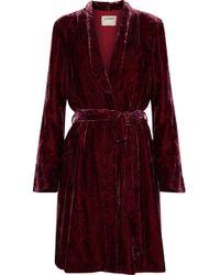 L'Agence - Cressida Printed Velvet Robe - Lyst