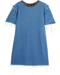 Mother Of Pearl - Lloyd Frayed Embellished Denim Mini Dress - Lyst