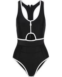 Duskii Kailua Cutout Two-tone Neoprene Swimsuit Black