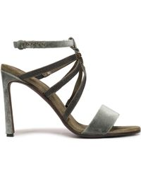 0ccfab40ef34 Brunello Cucinelli - Woman Bead-embellished Velvet Sandals Leaf Green - Lyst