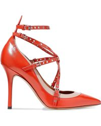 Valentino - Love Latch Eyelet-embellished Two-tone Leather Court Shoes Tomato Red - Lyst