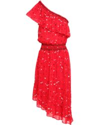 Joie - Woman Hafsa One-shoulder Floral-print Silk-georgette Dress Red Size Xs - Lyst