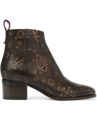 Valentino - Embossed Leather Ankle Boots - Lyst