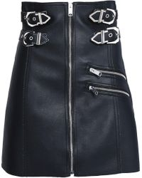 Versus - Buckled Faux Leather Mini Skirt - Lyst