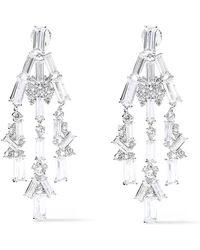 Noir Jewelry - Woman Rhodium-plated Crystal Earrings Silver - Lyst