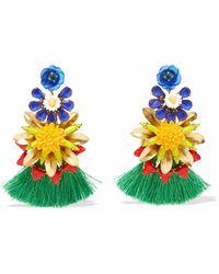 Elizabeth Cole - 24-karat Gold-plated, Stone, Acrylic And Tassel Earrings - Lyst
