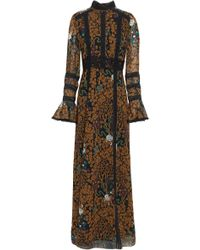 Anna Sui - Woman Lace-trimmed Printed Chiffon Maxi Dress Light Brown - Lyst