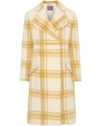 ALEXACHUNG - Double-breasted Checked Wool-blend Coat Mustard - Lyst