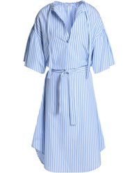 TOME - Woman Striped Cotton Dress Light Blue - Lyst