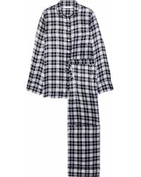 Equipment - Woman Avery Checked Washed-silk Pyjama Set Black - Lyst