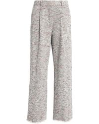 Theory - Frayed Cotton-blend Bouclé-tweed Wide-leg Pants - Lyst
